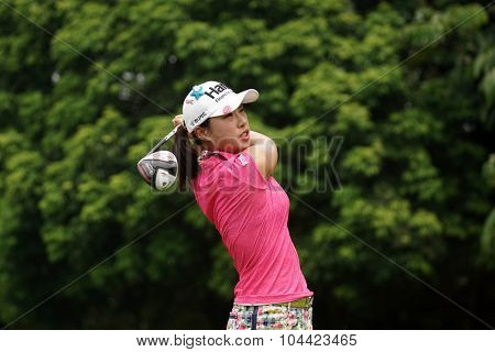KUALA LUMPUR, MALAYSIA - OCTOBER 10, 2015: South Korea's Hee Young Park tees off at the sixth hole of the KL Golf & Country Club on Round 3 day at the 2015 Sime Darby LPGA Malaysia golf tournament.