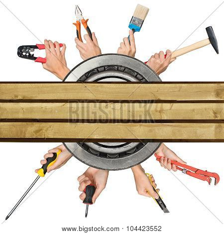 Humans hands holding tools on white