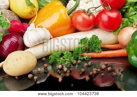 Group Of Different Vegetables On Black Background