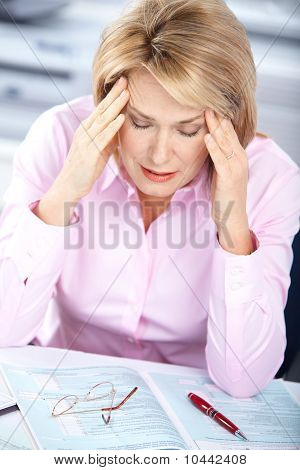 Business Woman  Having Stress