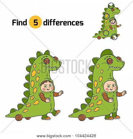 Find Differences: Halloween Characters (dinosaur Costume)