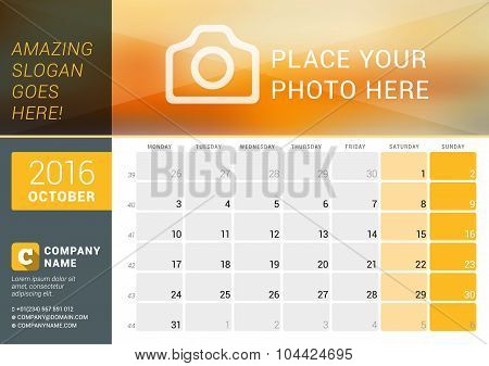 October 2016. Desk Calendar For 2016 Year. Vector Design Print Template With Place For Photo, Logo A