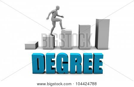 Degree 3D Concept  in Blue with Bar Chart Graph