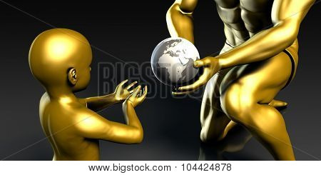 Father and Son Holding Earth Globe Planet Together