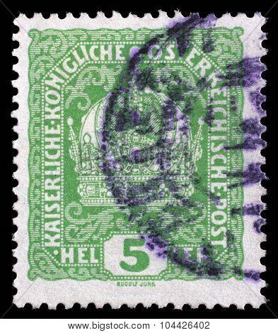AUSTRIA - CIRCA 1916: A stamp printed in Austria shows Austrian Imperial Crown, circa 1916