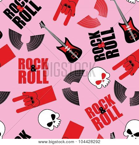 Rock And Roll Seamless Pattern. Symbol Of Rock Music. Background Of Guitars And Wings. Rock Hand Sig