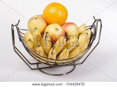 Fruit In A Metal Basket Of Fruit  .