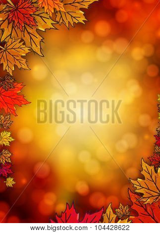 Border With Autumn Leaves On An Autumn Background