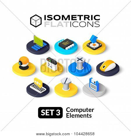 Isometric flat icons set 3