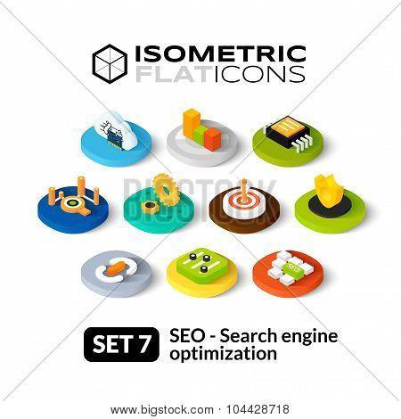 Isometric flat icons set 7