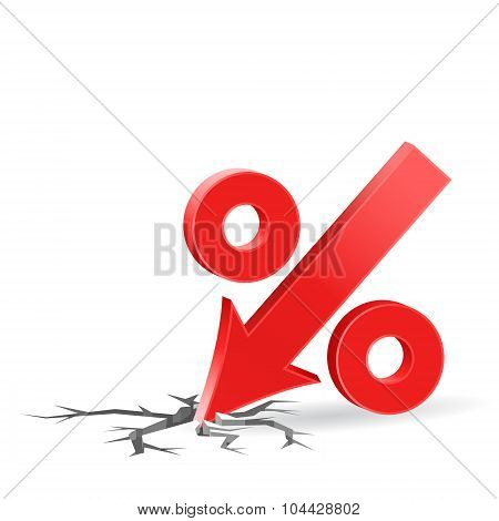 Percent Down Icon With Surface Crack
