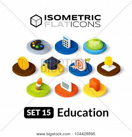 Isometric flat icons set 15