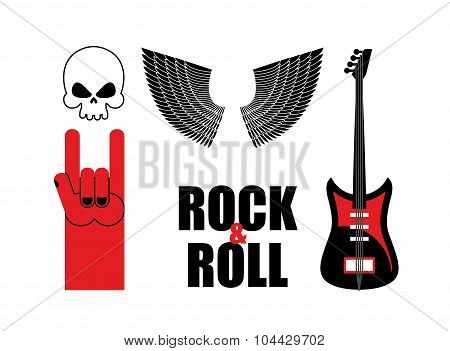 Set Symbol Rock Music . Skull And Wings, Guitar And Rock Hand Sign. Rock And Roll