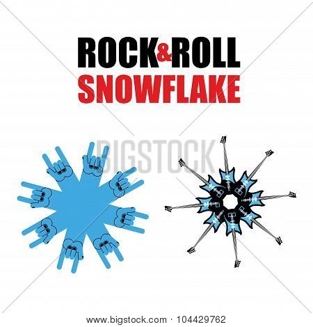 Rock And Roll Snowflakes. Rock Hand Sign In Form Of Snowflakes. Several Electric Guitars In Shape Of