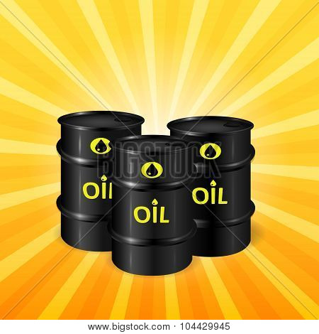 Oil Barrels On Sunray Background