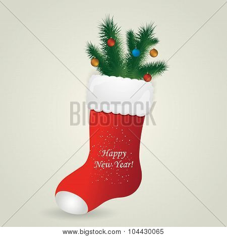 Red Santa's boot with christmas pine and balls. Vector illustration