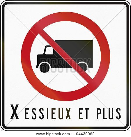 No Lorries With X Axles In Canada