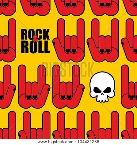 Rock And Roll Seamless Pattern. Background Of Skull And Rock Hand Sign.