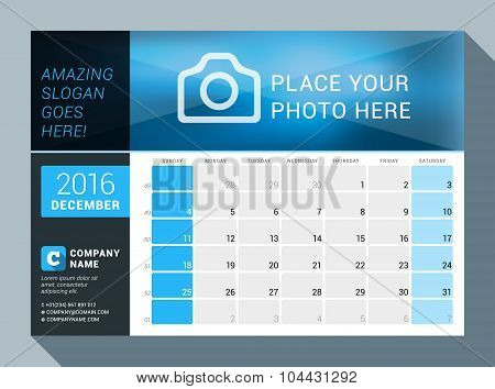 December 2016. Vector Design Print Calendar Template For 2016 Year. Place For Photo, Logo And Contac