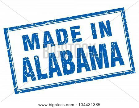 Alabama Blue Square Grunge Made In Stamp