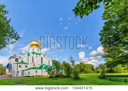 Fedorovskiy cathedral in Pushkin in summer day