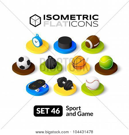 Isometric flat icons set 46