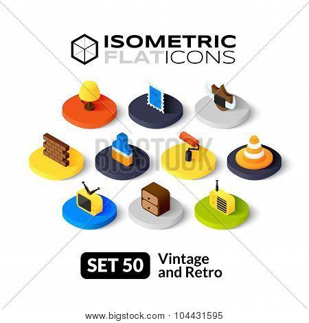 Isometric flat icons set 50