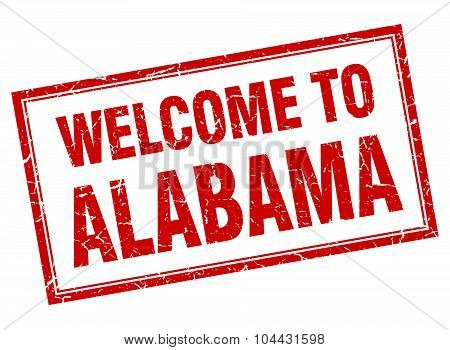 Alabama Red Square Grunge Welcome Isolated Stamp