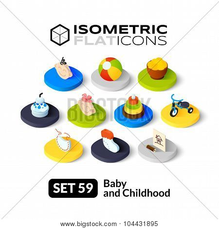 Isometric flat icons set 59