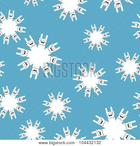 Rock And Roll Winter Seamless Pattern. Background Snowflakes From Rock Hand Sign.