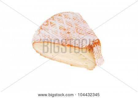 single part of french cheese on white background