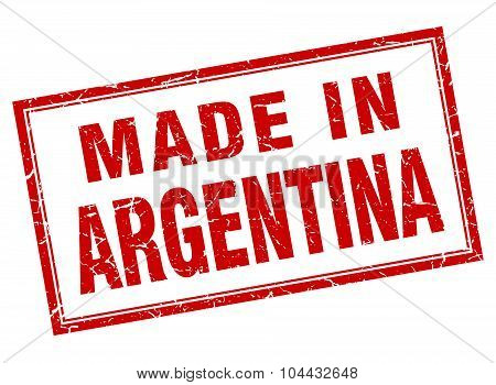 Argentina Red Square Grunge Made In Stamp