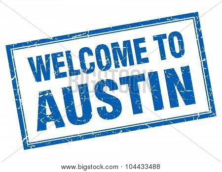 Austin Blue Square Grunge Welcome Isolated Stamp