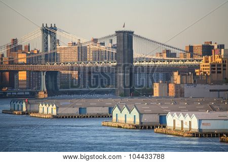Manhattan Bridge And Brooklyn Bridge In United States