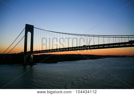 Verrazano Narrows Bridge In New York City At Sunset