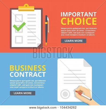 Important choice, business contract flat illustration concepts set