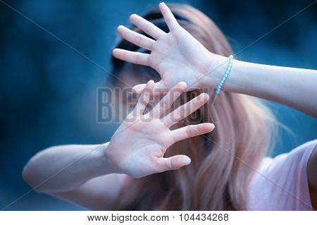 Asian Women Showing Stop Hand Gesture,  Focus Hand