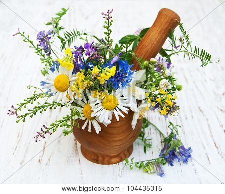 Wildflowers With Mortar And Pestle