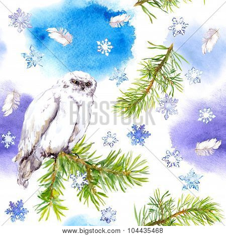 White owl bird. Repeating winter pattern, Watercolour