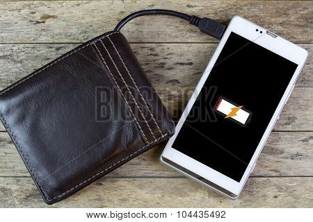 Wallet With Energy Charge, Charging Smartphone