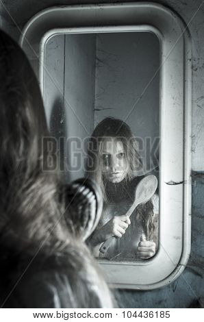 Horror girl in the mirror