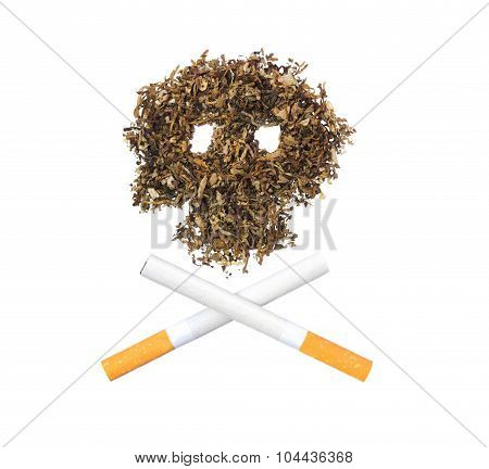 The Pattern Of The Skull Of Tobacco Leaves With Two Crossed Cigarettes