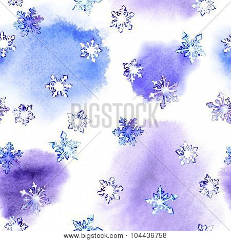 Repeating winter pattern with snow flake on blotch watercolor
