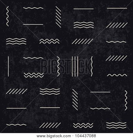 Geometric lines pattern on dark textured background. Retro monochrome style. Textured layers easy editable