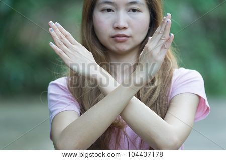 Asia Woman Shows The Hands Stop Timeout