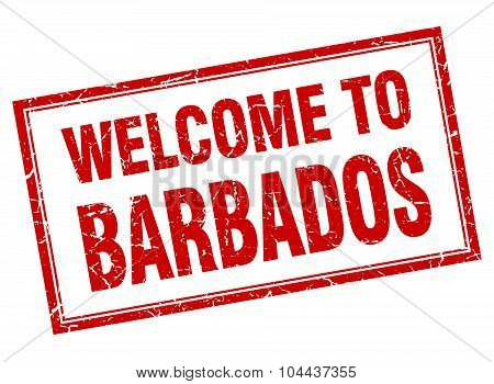 Barbados Red Square Grunge Welcome Isolated Stamp