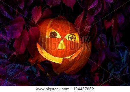 Halloween pumpkin with eyes made of clock gears, among the leaves of wild grapes at night