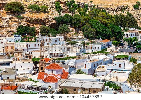 View of old Lindos town with Church of Panagia.