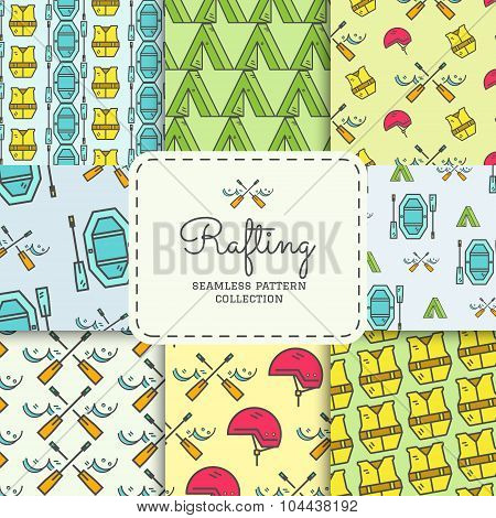 Rafting equipment seamless pattern collection. Outdoors style, thin line color design. Stylish eleme