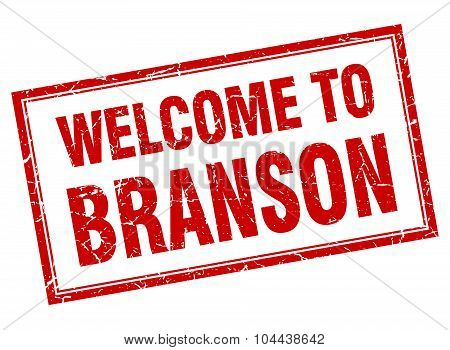 Branson Red Square Grunge Welcome Isolated Stamp